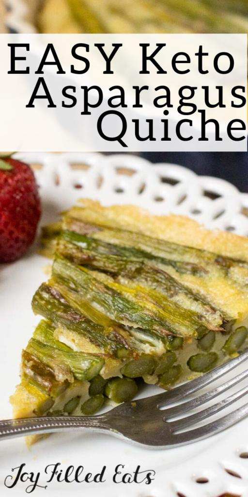 pinterest image for keto asparagus quiche