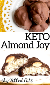 pinterest image for keto almond joy candies