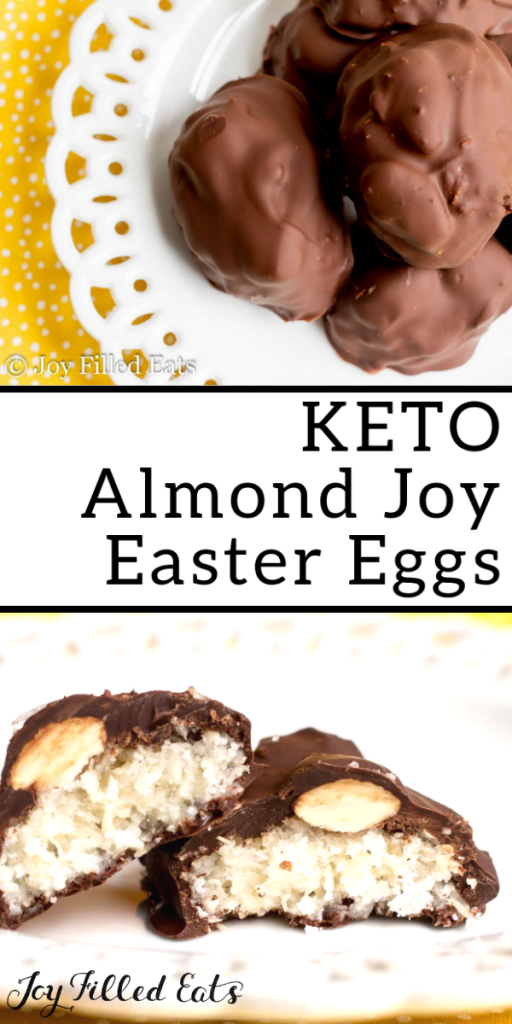 pinterest image for keto almond joy Easter eggs
