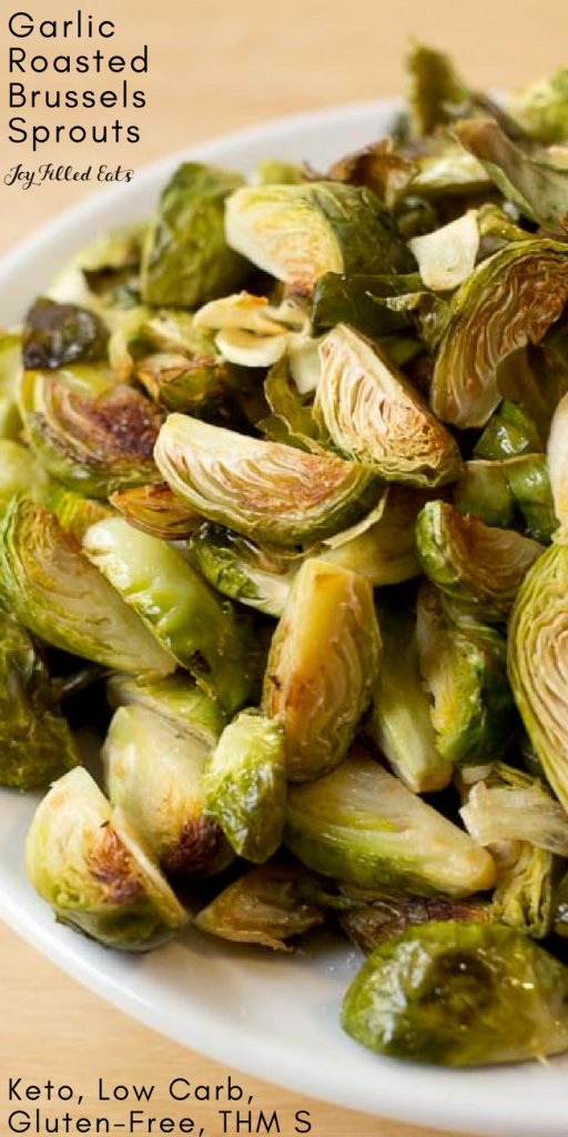pinterest image for garlic roasted Brussels Sprouts