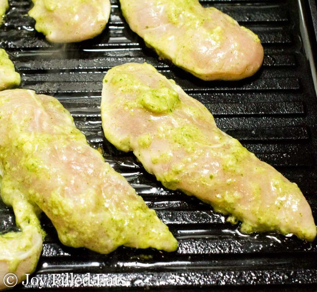 chicken tenderloins on a grill pan