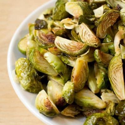 Roasted Brussels Sprouts with Garlic Low Carb Keto THM