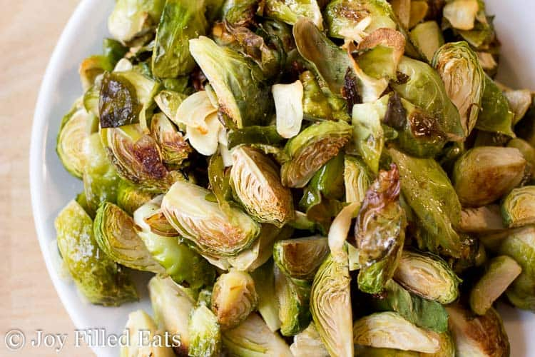 plate of roasted Brussels Sprouts close up