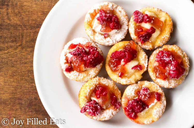 plate of Raspberry Brie Appetizer Bites from above