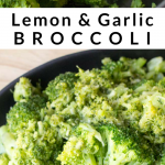 pinterest image for lemon garlic broccoli side dish