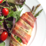 pinterest image for keto asparagus stuffed chicken with bacon