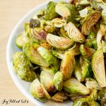 close up of the Roasted Brussels Sprouts with Garlic in a white bowl