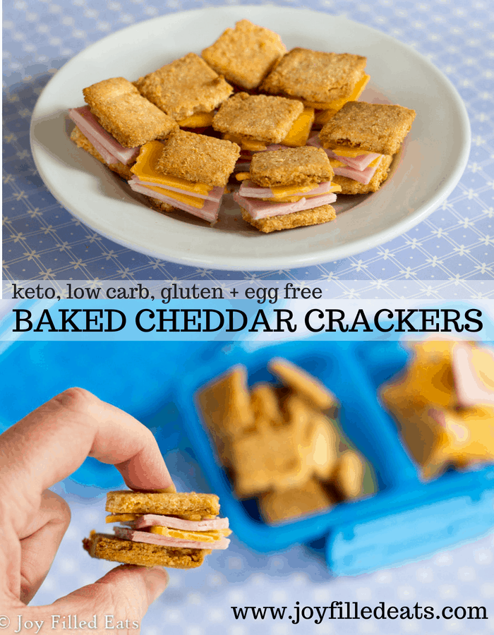 pinterest image for keto baked cheddar crackers
