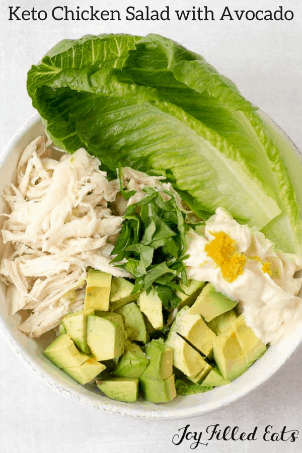 pinterest image for keto chicken salad with avocado