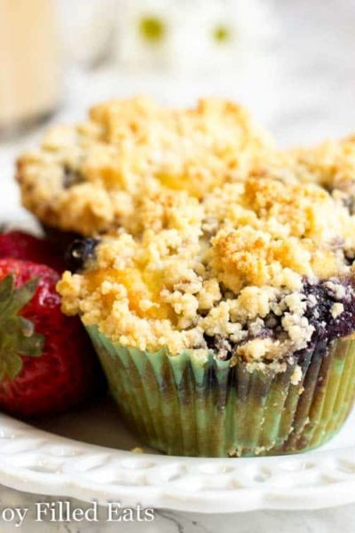 Blueberry Muffins with Crumb Topping Low Carb THM S