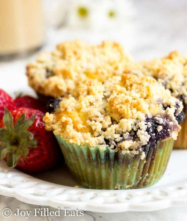 close up on blueberry muffin with crumb topping
