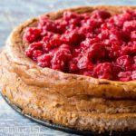 close up of raspberry cheesecake