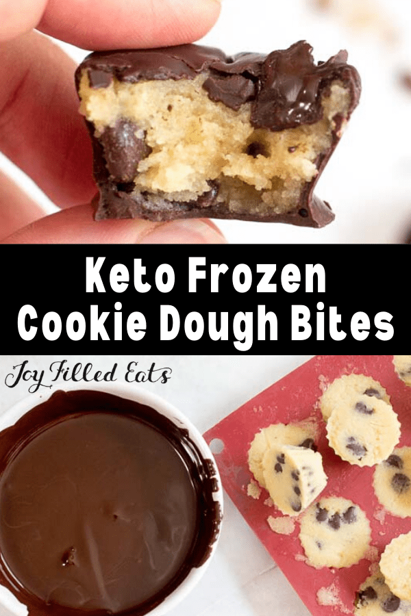 pinterest image for keto frozen cookie dough bites
