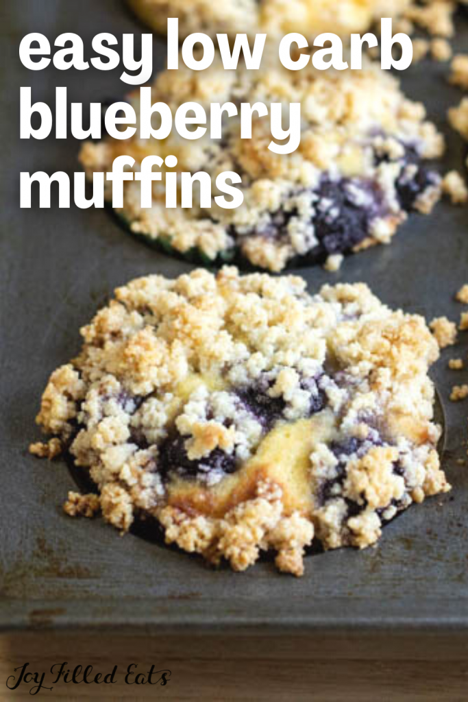 pinterest image for low carb blueberry muffins