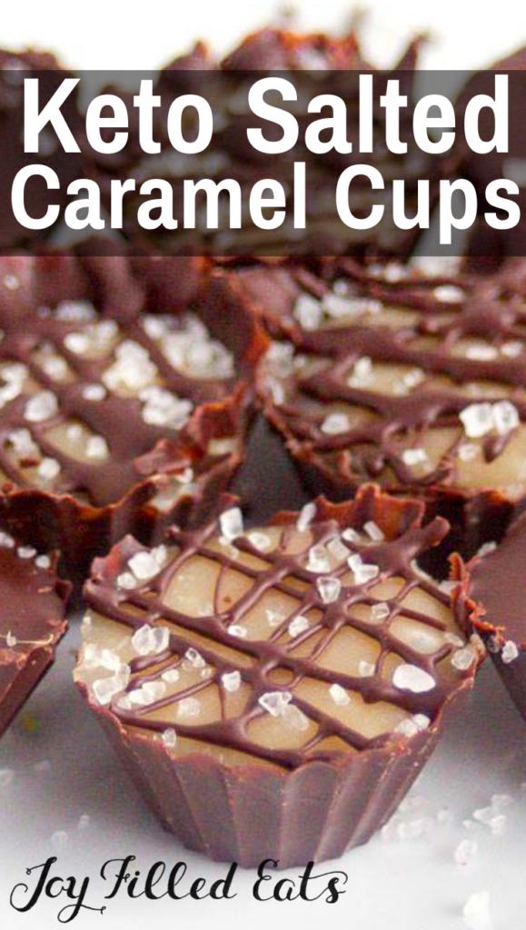 pinterest image for keto salted caramel cups