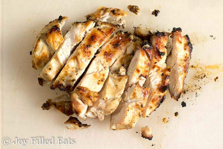sliced lemon grilled chicken breasts from above