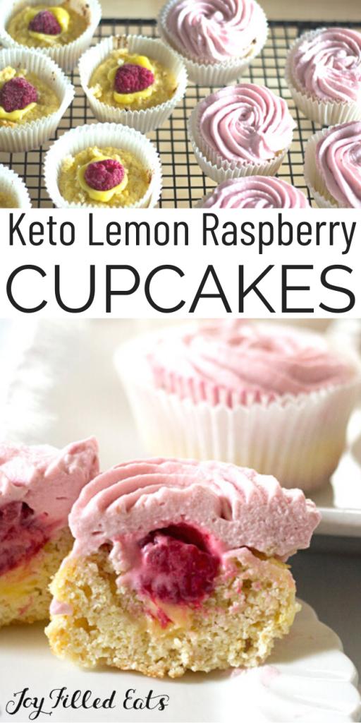 pinterest image for keto lemon cupcakes