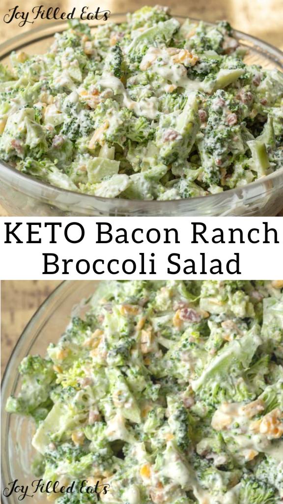 pinterest image for keto bacon ranch broccoli salad