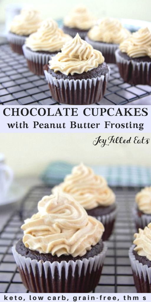 pinterest image for chocolate cupcakes with peanut butter frosting