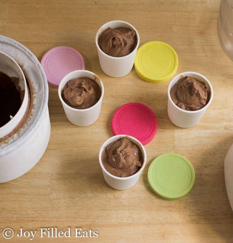 small containers of chocolate dairy free ice cream