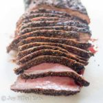 close up on sliced London Broil