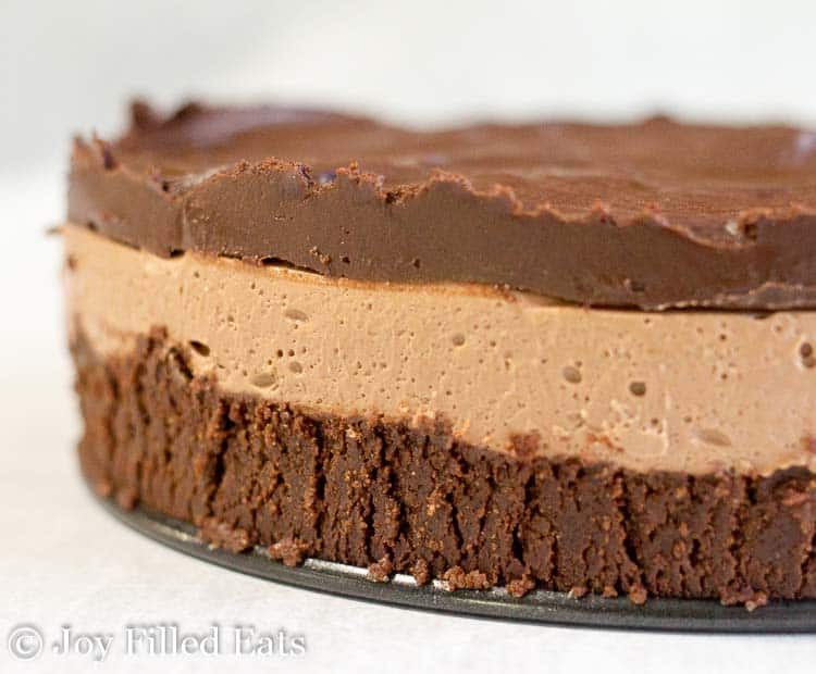 Side view of the No Bake Chocolate Cheesecake Recipe showing all 3 layers