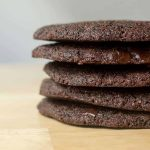 stack of triple chocolate cookies close up