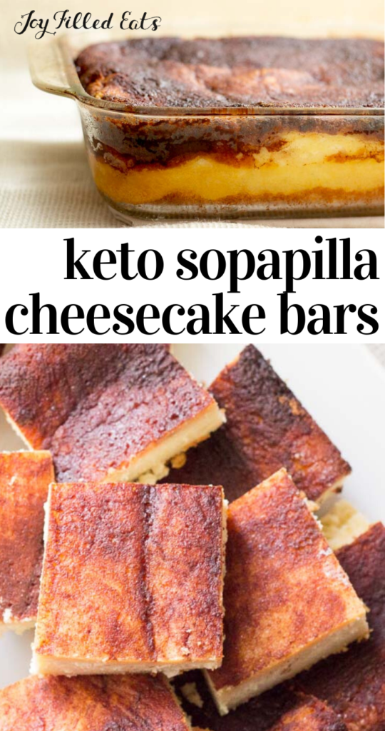 pinterest image for sopapilla cheesecake bars