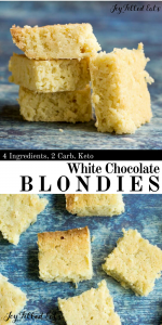 pinterest image for keto white chocolate blondies