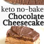 pinterest image for keto no bake chocolate cheesecake