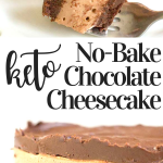 pinterest image for no bake chocolate cheesecake