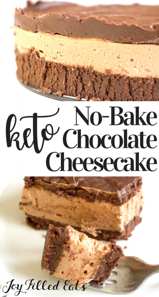 pintrest image for no bake chocolate cheesecake