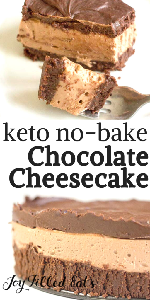 pinterest image for keto no bake chocolate cheesecake