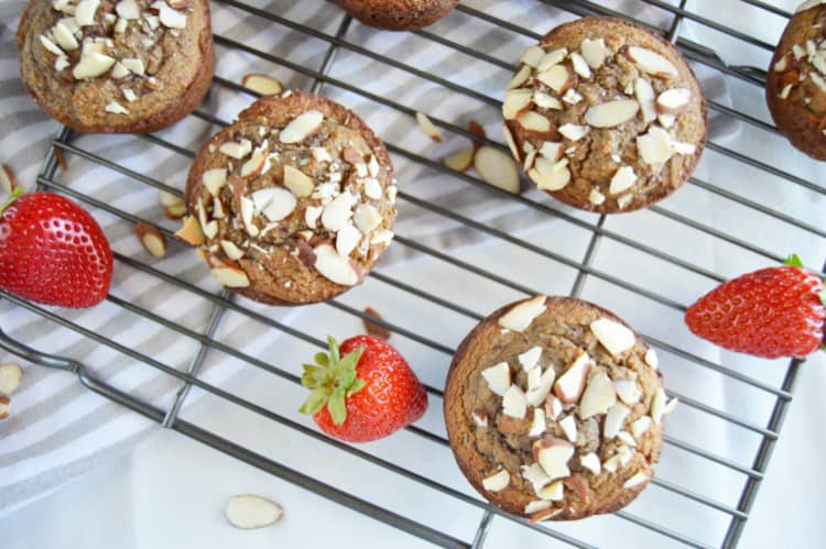 Strawberry Almond Flour Muffins on a cooling rack