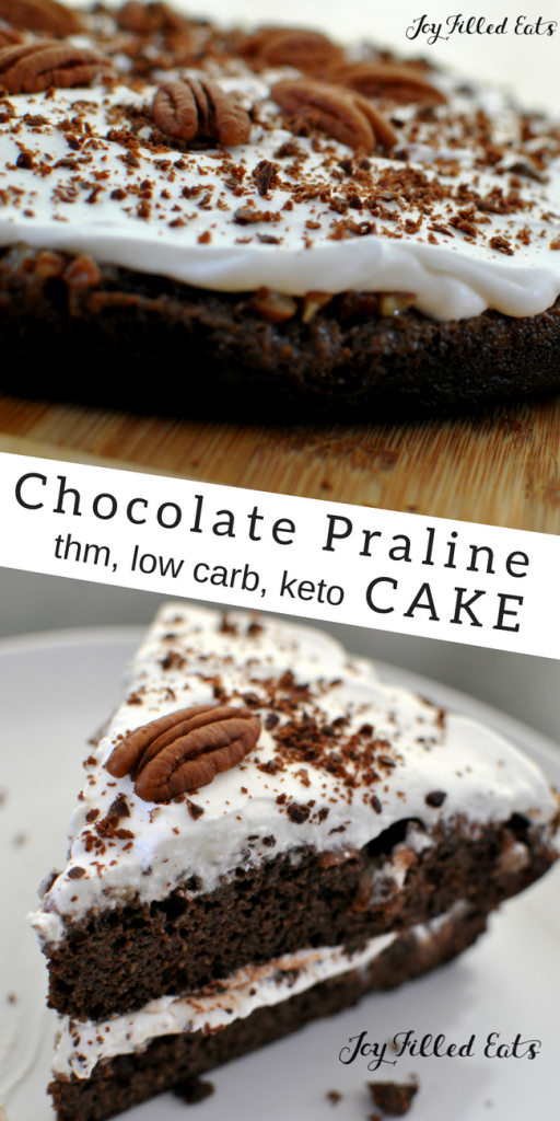 pinterest image for keto chocolate praline cake