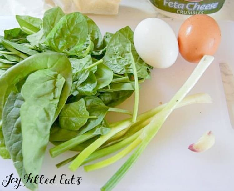 ingredients for spinach and feta savory pancakes