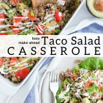 pinterest image for keto taco salad casserole
