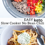 pinterest image for keto slow cooker no bean chili