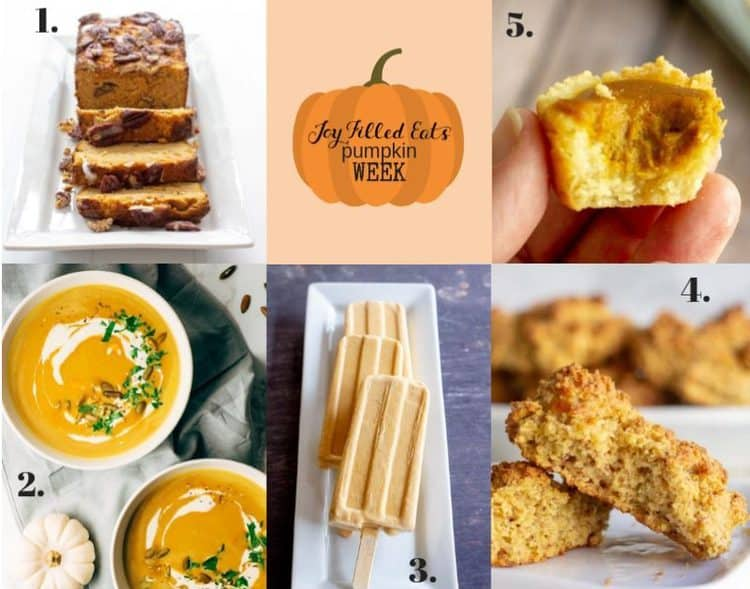 collage of images showing different recipes utilizing pumpkin