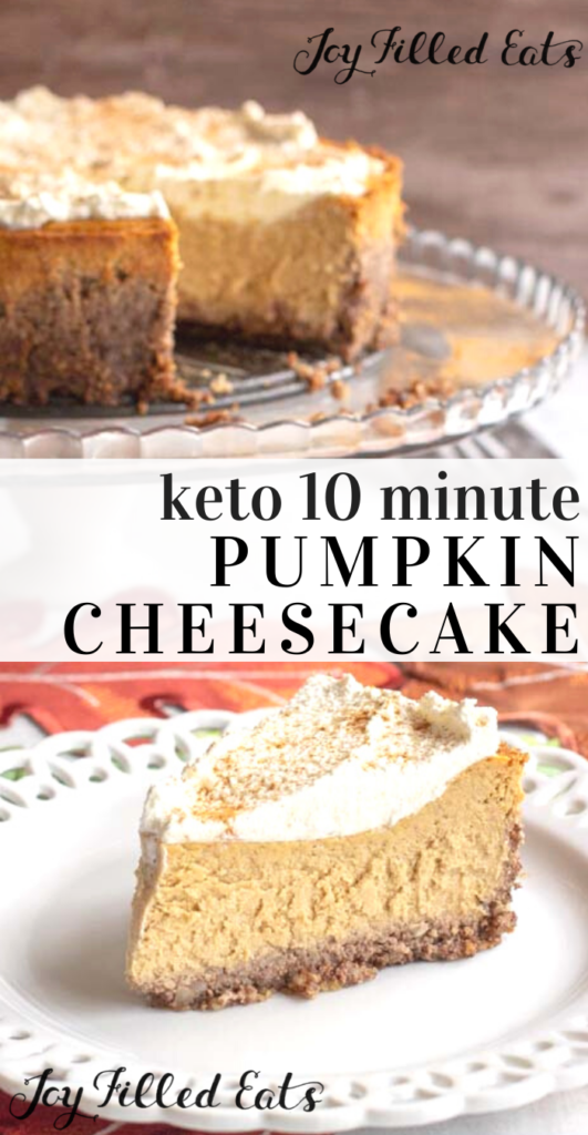 pinterest image for keto pumpkin cheesecake