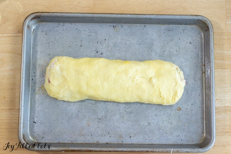 low carb Chicken stromboli placed on a sheet pan before baking