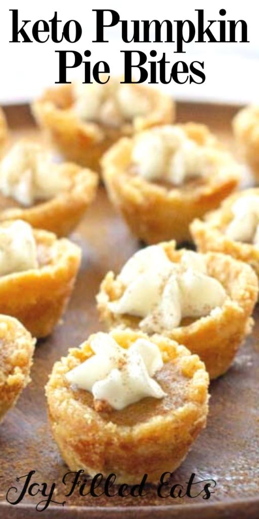 pinterest image for keto pumpkin pie bites
