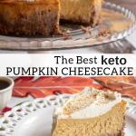 pinterest image for keto pumpkin cheesecake