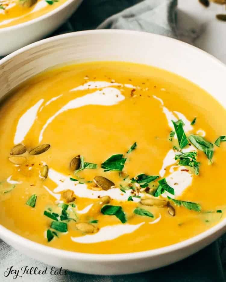 close up on bowl of pumpkin soup