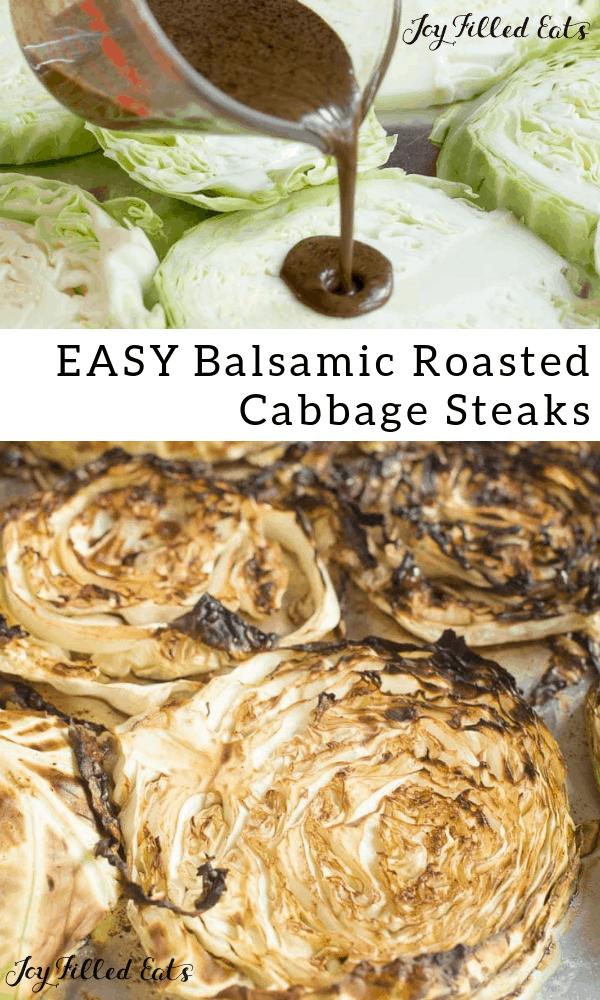 pinterest image for easy balsamic roasted cabbage steaks