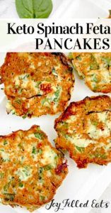 pinterest image for spinach feta savory pancakes