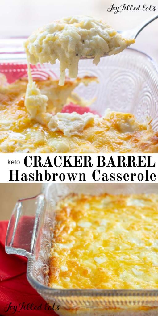 pinterest image for keto cracker barrel hashbrown casserole