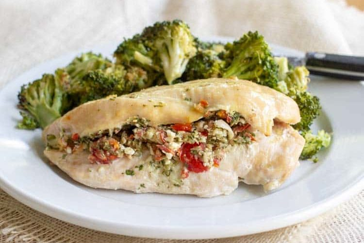 Easy Baked Chicken Breasts Stuffed with Greek Salsa