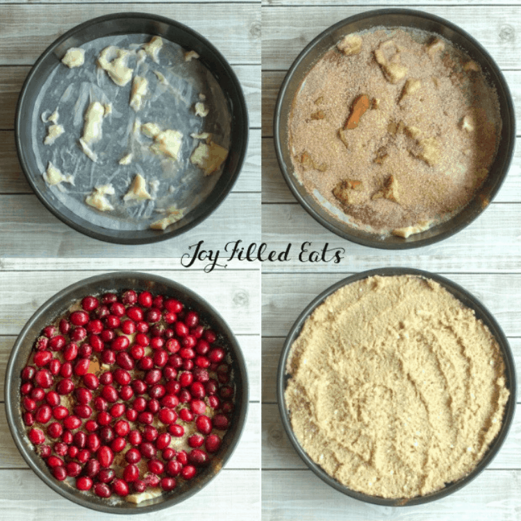 a collage of 4 images showing the steps in layering the cranberry topping for the upside down cake