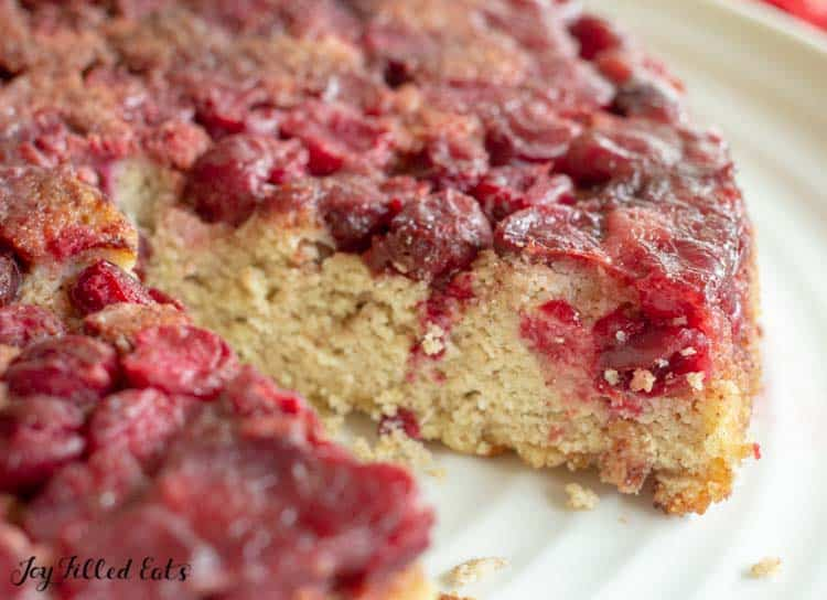 a slice out of the cranberry cake